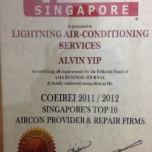 COEIREI 2011/2012 SINGAPORE'S TOP 10 AIRCON PROVIDER & REPAIR FIRMS
